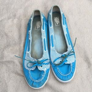 Vans Size 10 Blue and white boat shoes